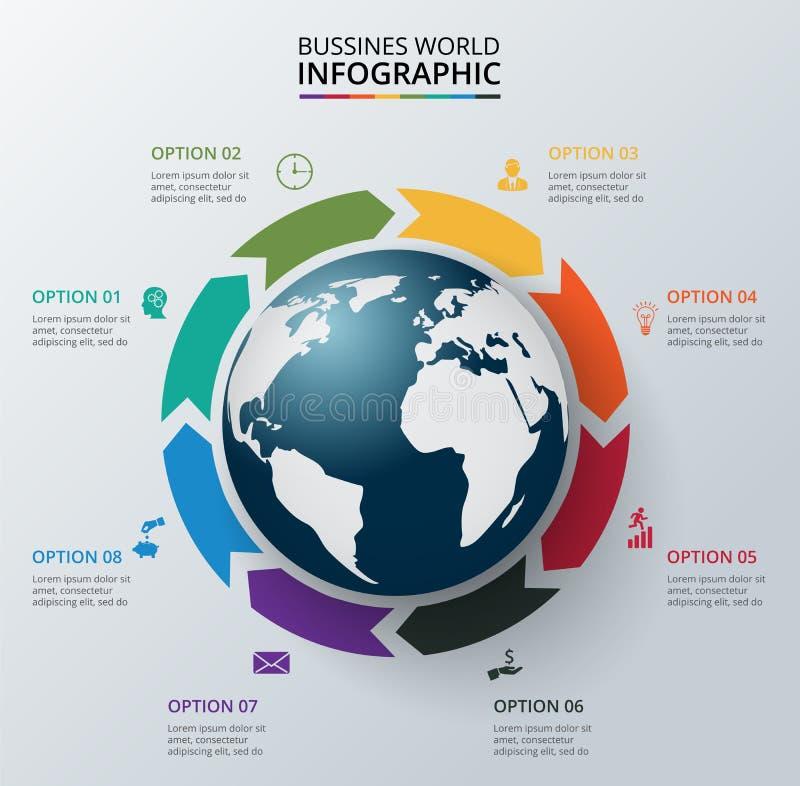 Διανυσματικά στοιχεία κύκλων με τη γη για infographic απεικόνιση αποθεμάτων