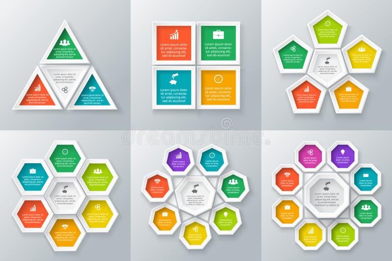 Διανυσματικά στοιχεία κύκλων που τίθενται για infographic απεικόνιση αποθεμάτων