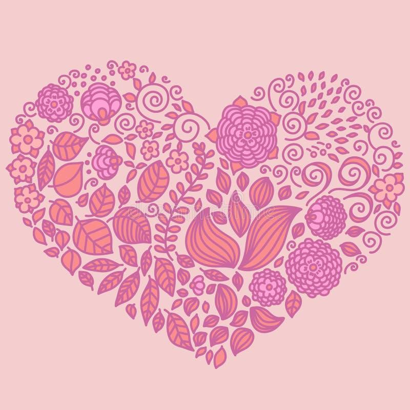 Διανυσματικά στοιχεία doodle δερματοστιξιών floral που τίθενται στην καρδιά διανυσματική απεικόνιση