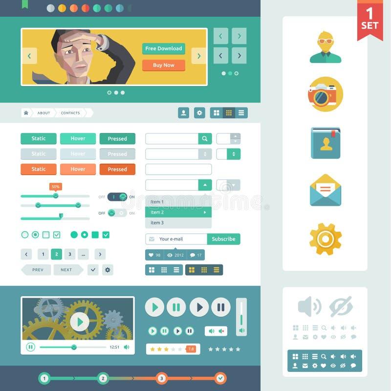 Διανυσματικά στοιχεία UI για τον Ιστό και κινητός. απεικόνιση αποθεμάτων
