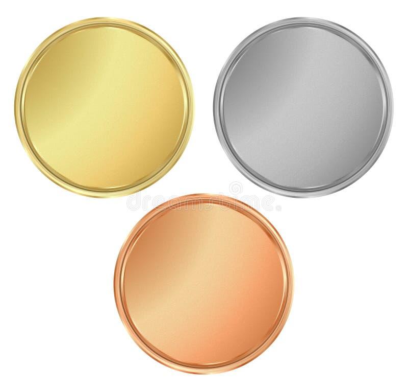 Διανυσματικά στρογγυλά κενά κατασκευασμένα χρυσά ασημένια χάλκινα μετάλλια Μπορεί β απεικόνιση αποθεμάτων