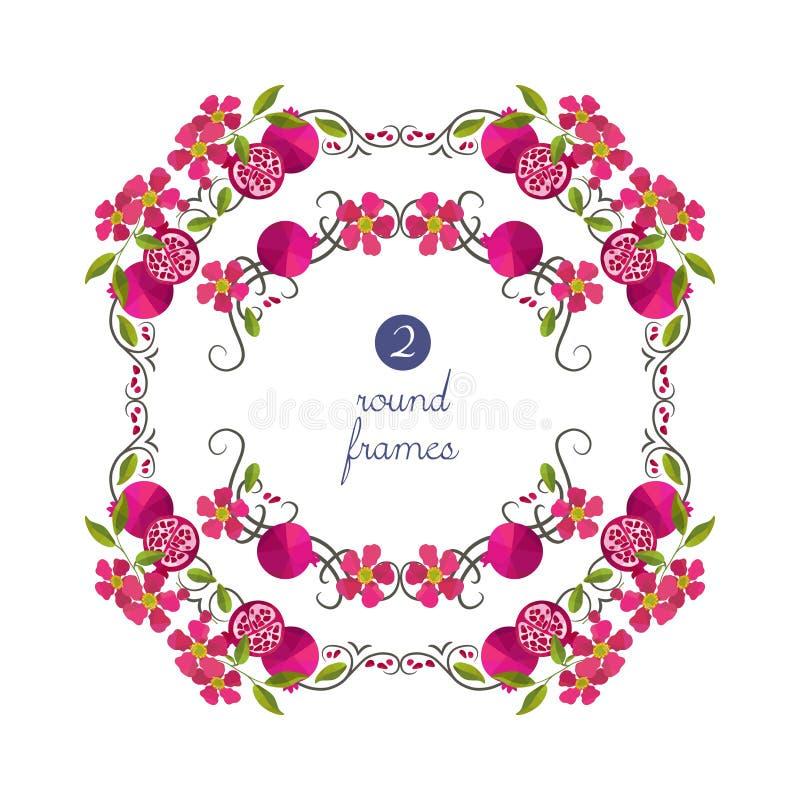 Διανυσματικά στρογγυλά πλαίσια με το ρόδι και το λουλούδι ελεύθερη απεικόνιση δικαιώματος