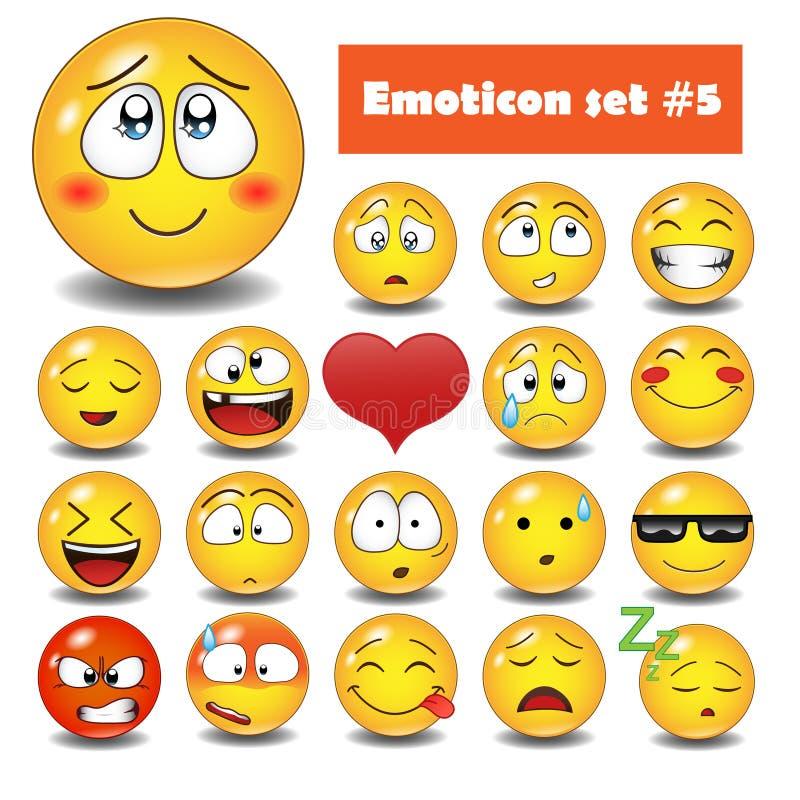 Διανυσματικά συναισθηματικά εικονίδια προσώπου διανυσματική απεικόνιση