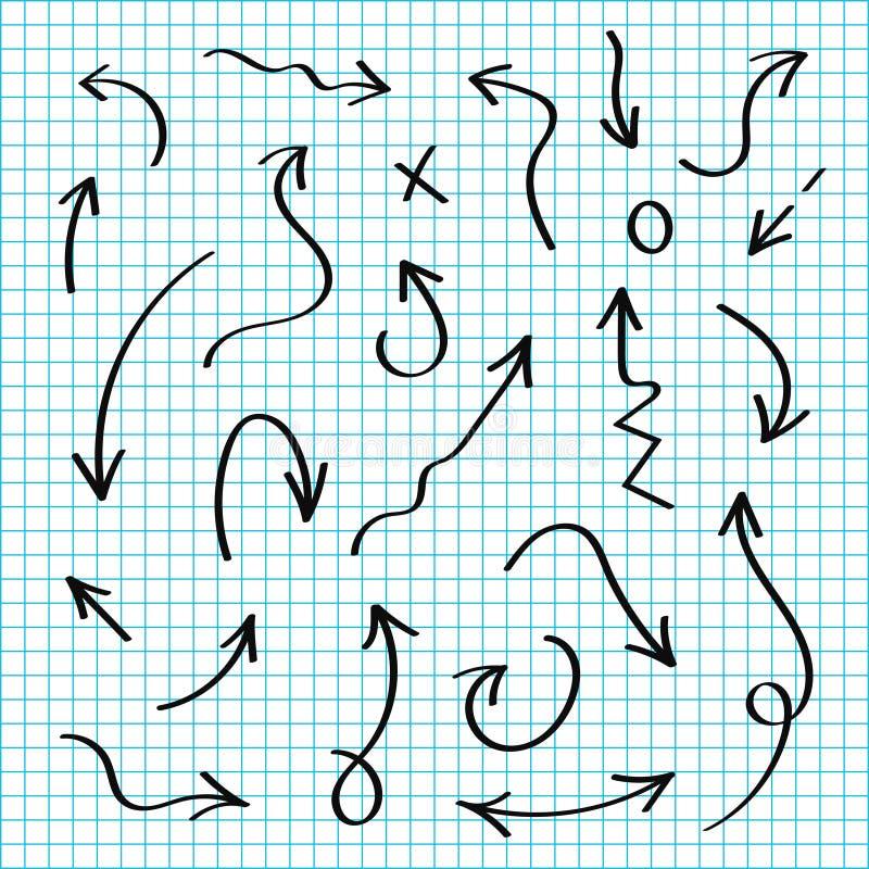 Διανυσματικά συρμένα χέρι βέλη καθορισμένα Μαύρα βέλη σκίτσων στο ύφος doodle Γραμμές και δείκτες, έλεγχος και σημάδια ελεύθερη απεικόνιση δικαιώματος