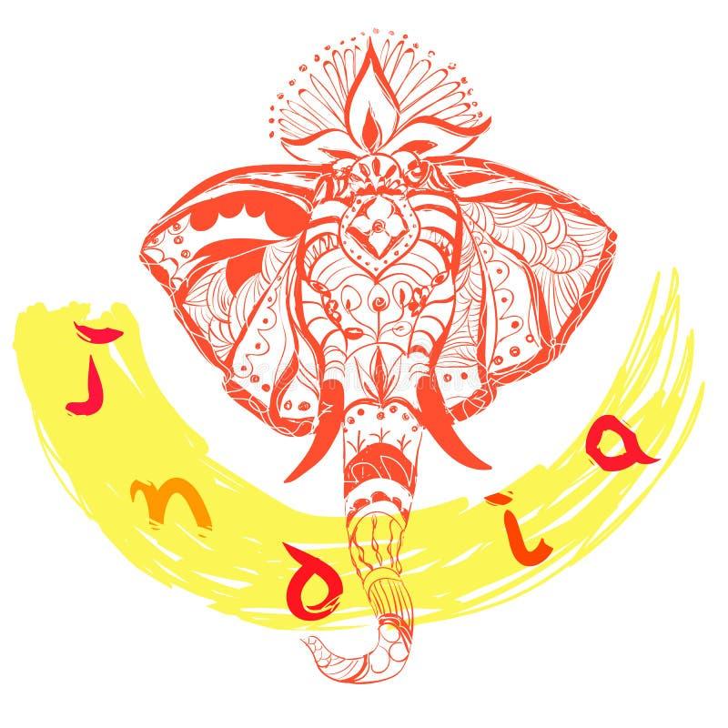 Διανυσματικά συρμένα χέρι κεφάλι και κείμενο ελεφάντων ` s Απεικόνιση ύφους της Ινδίας διανυσματική απεικόνιση