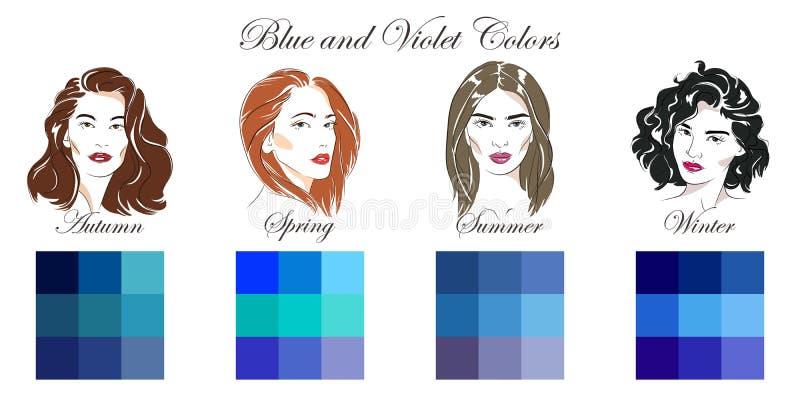 Διανυσματικά συρμένα χέρι κορίτσια με τους διαφορετικούς τύπους θηλυκών εμφανίσεων Σύνολο παλετών με τα μπλε και ιώδη χρώματα για απεικόνιση αποθεμάτων