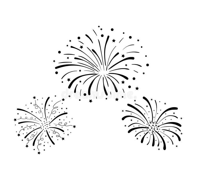 Διανυσματικά συρμένα χέρι πυροτεχνήματα Doodle, υπόβαθρο εορτασμού, μαύρα στοιχεία σχεδίου που απομονώνονται ελεύθερη απεικόνιση δικαιώματος