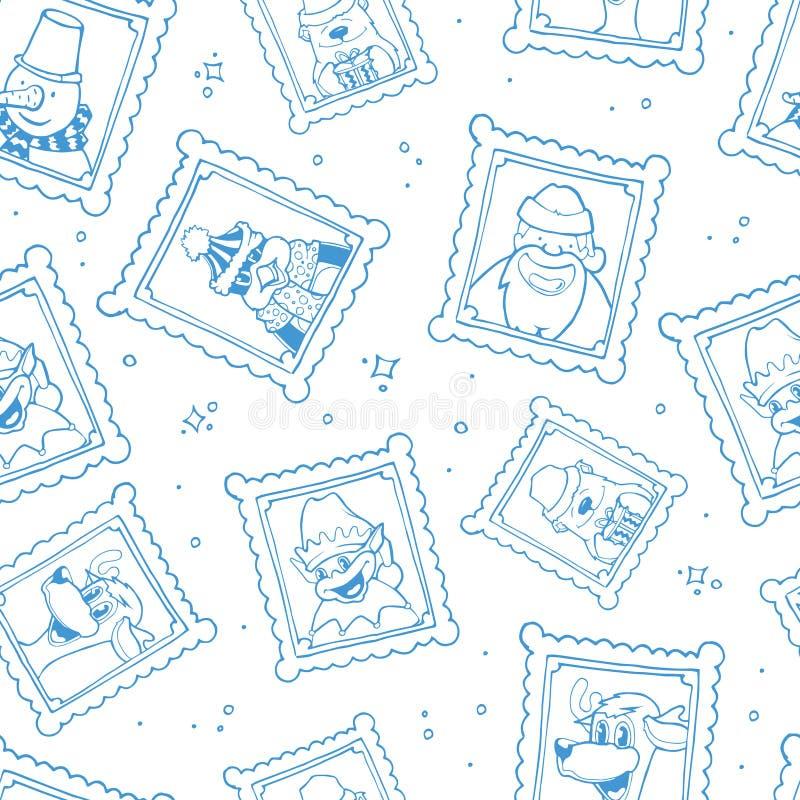 Διανυσματικά συρμένα χέρι πλαίσια με το πορτρέτο των χαρακτηρών κινουμένων σχεδίων Χριστουγέννων απεικόνιση αποθεμάτων