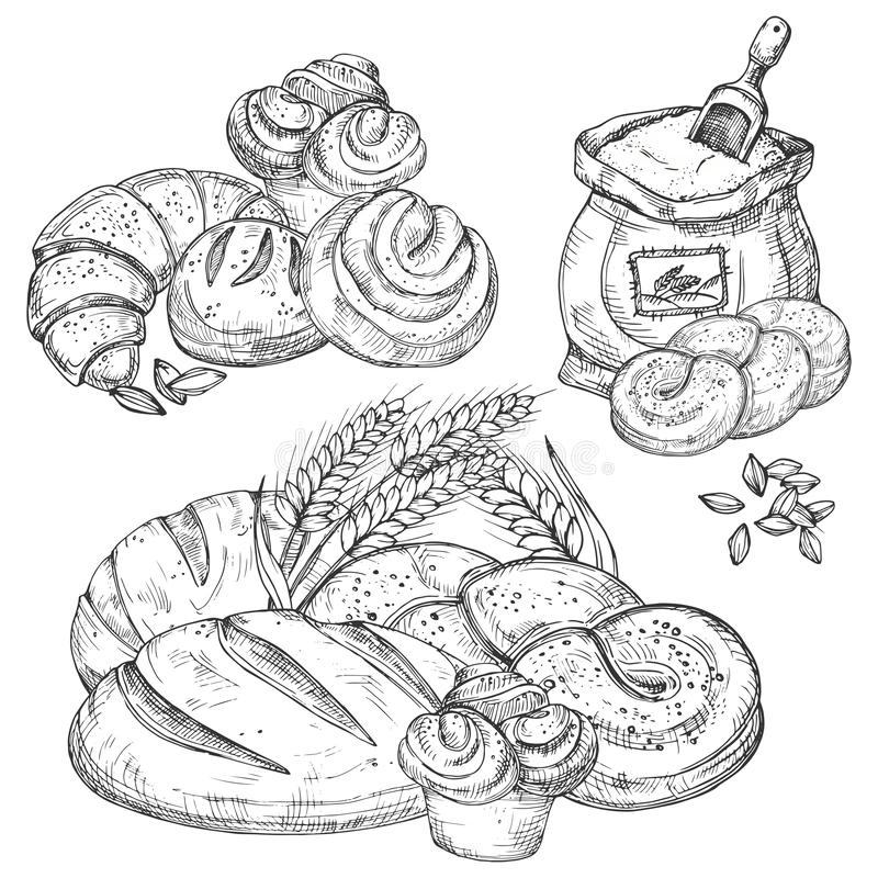 Διανυσματικά συρμένα χέρι στοιχεία αρτοποιείων για τις επιλογές, ιπτάμενα, έμβλημα, υπόβαθρο ελεύθερη απεικόνιση δικαιώματος