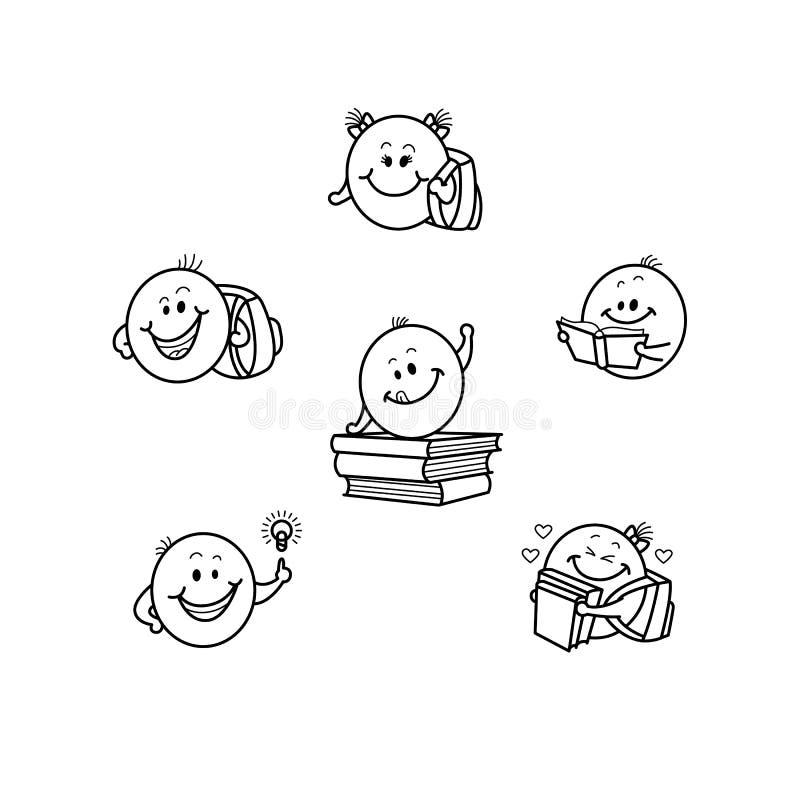 Διανυσματικά συρμένα χέρι χαμόγελα παιδιών σπουδαστών, emoji προσώπου διανυσματική απεικόνιση