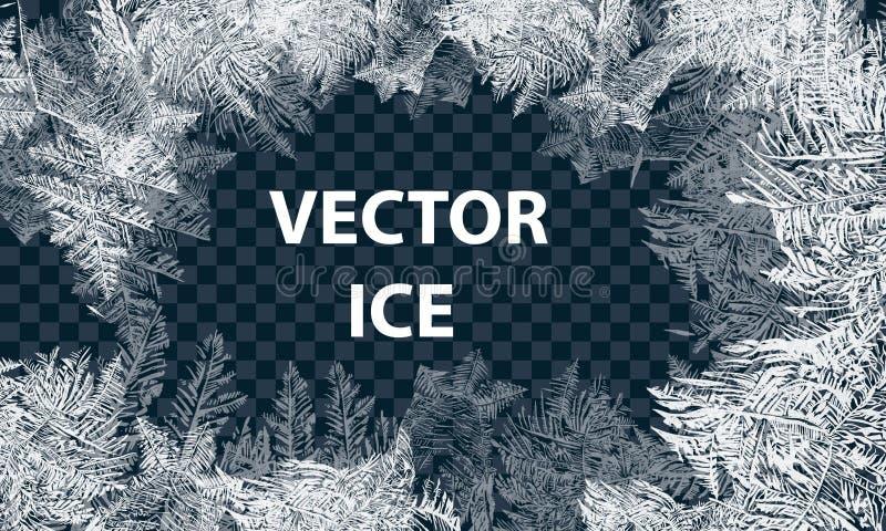 Διανυσματικά σχέδια που γίνονται από το μπλε χειμερινό υπόβαθρο παγετού για τα σχέδια Χριστουγέννων Τυπογραφική ετικέτα για τις δ ελεύθερη απεικόνιση δικαιώματος