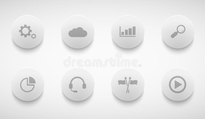 Διανυσματικά σύγχρονα εικονίδια κύκλων τεχνολογίας καθορισμένα απεικόνιση αποθεμάτων