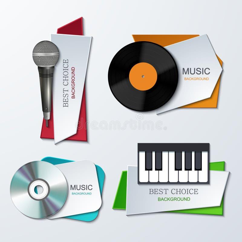 Διανυσματικά σύγχρονα εμβλήματα μουσικής καθορισμένα ελεύθερη απεικόνιση δικαιώματος