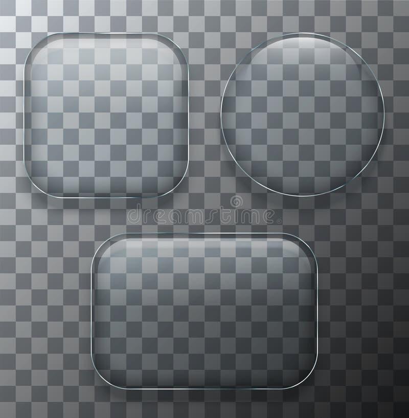 Διανυσματικά σύγχρονα διαφανή πιάτα γυαλιού που τίθενται στο υπόβαθρο δειγμάτων διανυσματική απεικόνιση