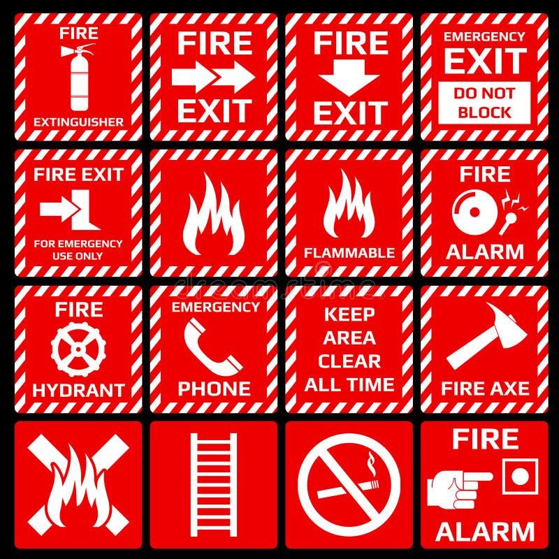 Διανυσματικά σύμβολα συναγερμών πυρκαγιάς καθορισμένα απεικόνιση αποθεμάτων