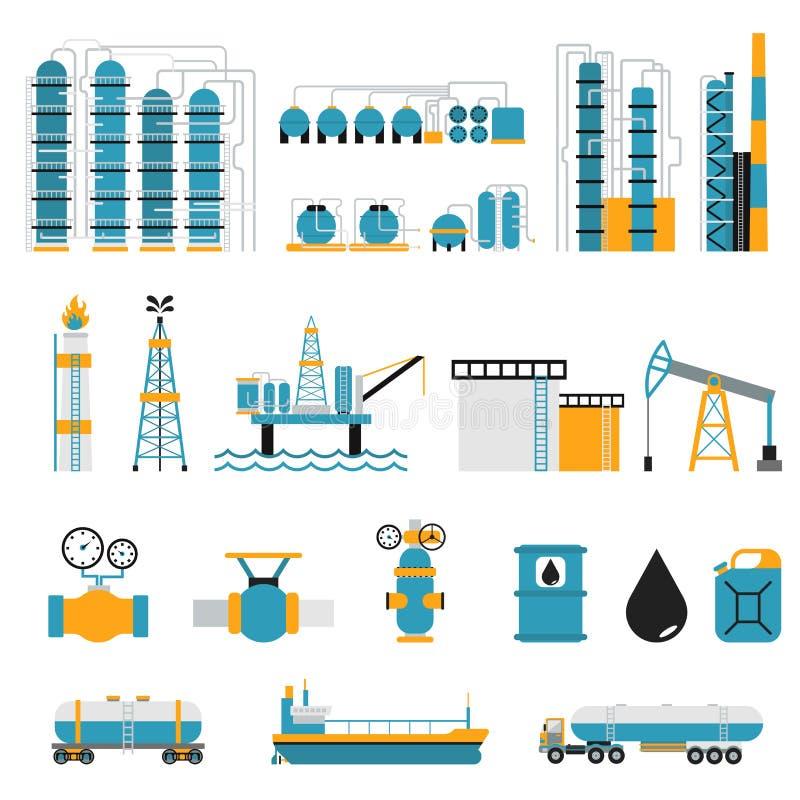 Διανυσματικά σύμβολα ύφους βιομηχανίας πετρελαίου επίπεδα ελεύθερη απεικόνιση δικαιώματος