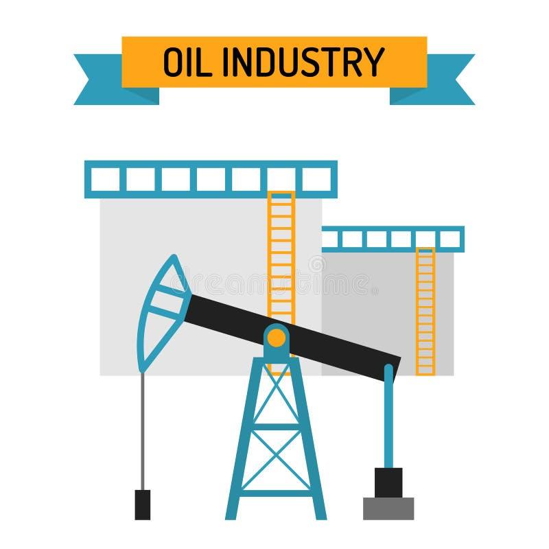 Διανυσματικά σύμβολα ύφους βιομηχανίας πετρελαίου επίπεδα διανυσματική απεικόνιση