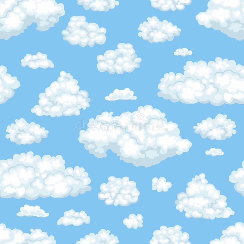Διανυσματικά σύννεφα στο άνευ ραφής σχέδιο μπλε ουρανού απεικόνιση αποθεμάτων