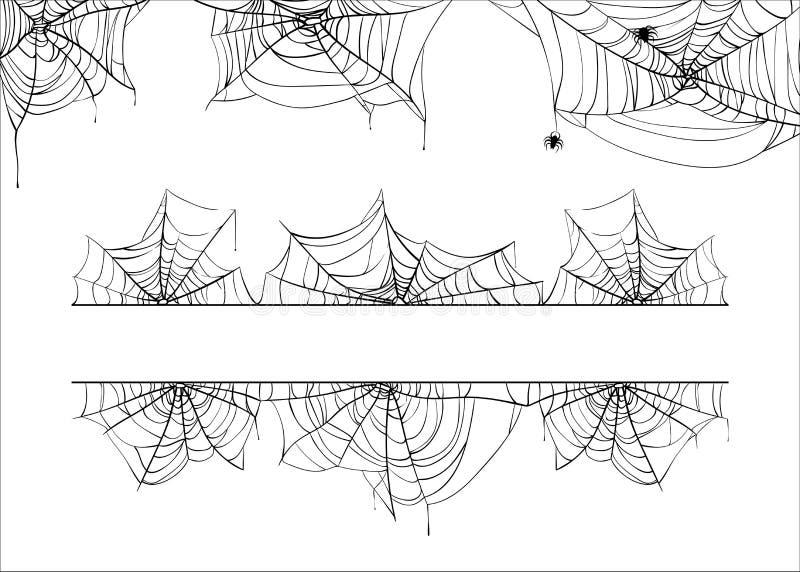 Διανυσματικά σύνορα αποκριών spiderweb Υπόβαθρο πλαισίων γωνιών ιστών αράχνης που απομονώνεται στο λευκό απεικόνιση αποθεμάτων