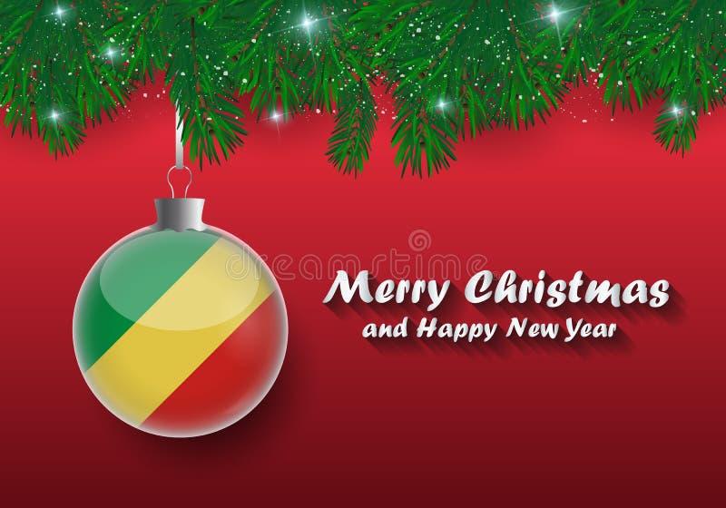 Διανυσματικά σύνορα των κλάδων και της σφαίρας χριστουγεννιάτικων δέντρων με το fla του Κογκό διανυσματική απεικόνιση