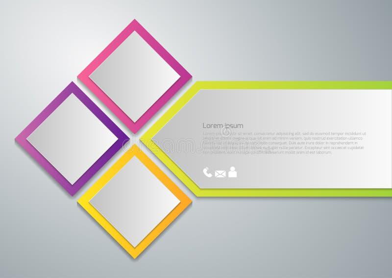 Διανυσματικά τετράγωνα εγγράφου infographics απεικόνισης απεικόνιση αποθεμάτων