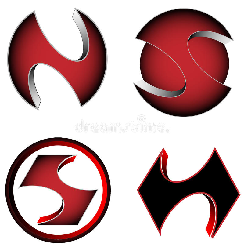 Διανυσματικά τρισδιάστατα σχετικά με logotype την επιχείρηση εικονίδια τυχερού παιχνιδιού, κόκκινα και μαύρα χρώματα ελεύθερη απεικόνιση δικαιώματος