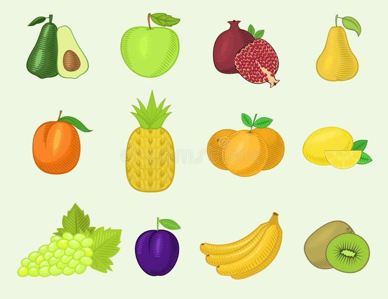 Διανυσματικά υγιή μπανάνα και vegetably καρότο μήλων διατροφής λαχανικών φρούτων fruity για τους χορτοφάγους που τρώνε τη οργανικ απεικόνιση αποθεμάτων