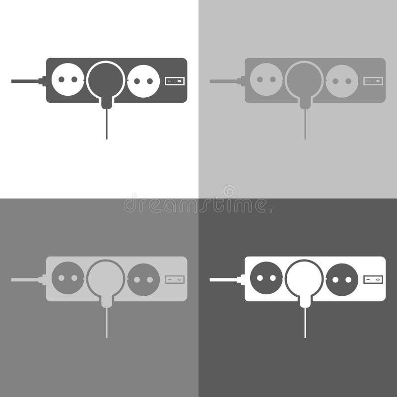 Διανυσματικά υποδοχές και βουλώματα εικονιδίων Ένα σκοινί επέκτασης η υποδοχή Vec απεικόνιση αποθεμάτων