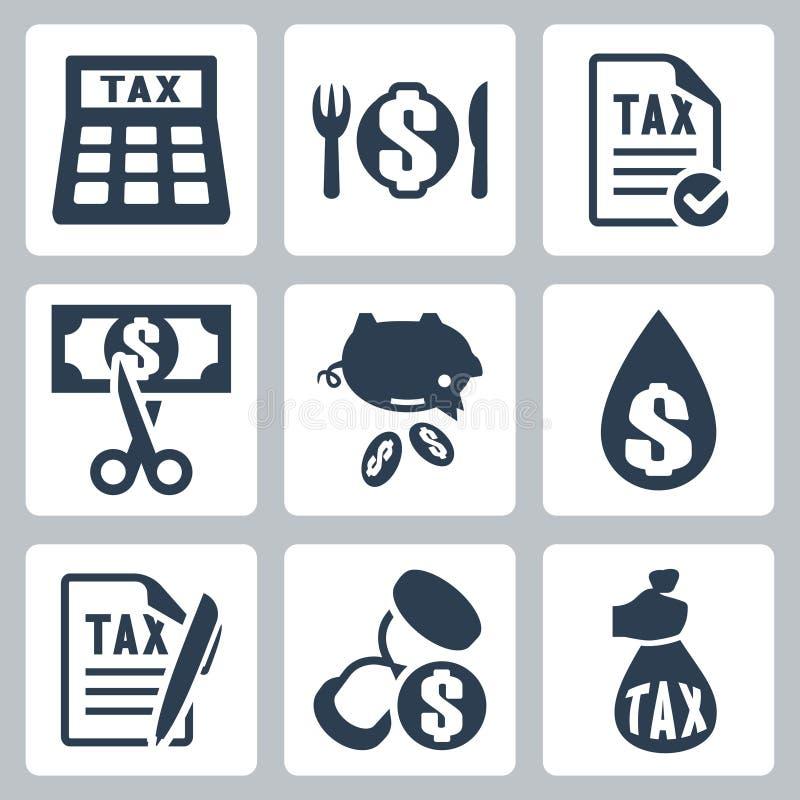Διανυσματικά φορολογικά εικονίδια καθορισμένα απεικόνιση αποθεμάτων