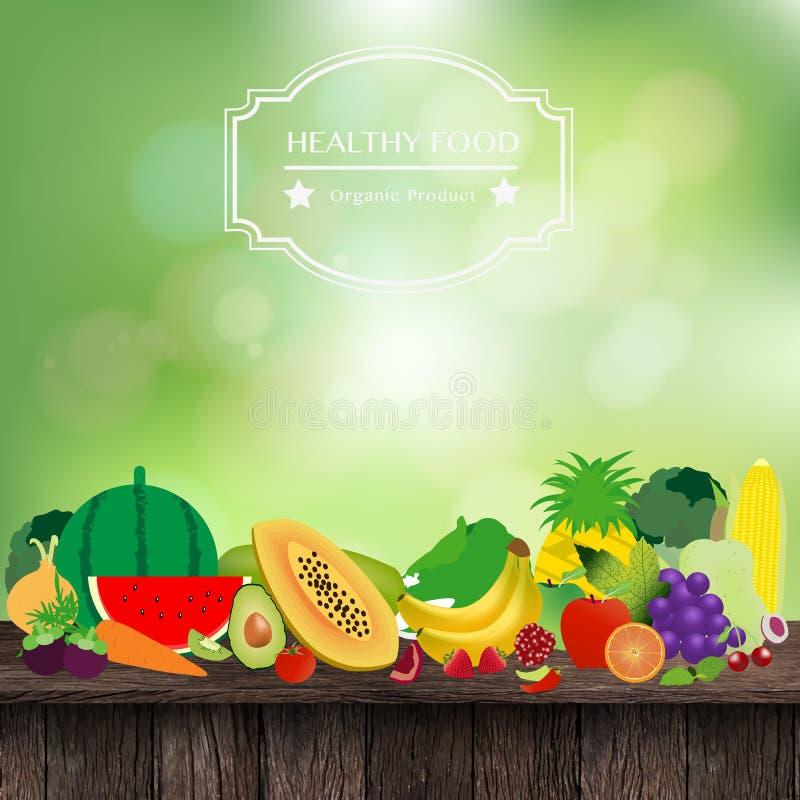 Διανυσματικά φρούτα και λαχανικά στον ξύλινο πίνακα ελεύθερη απεικόνιση δικαιώματος