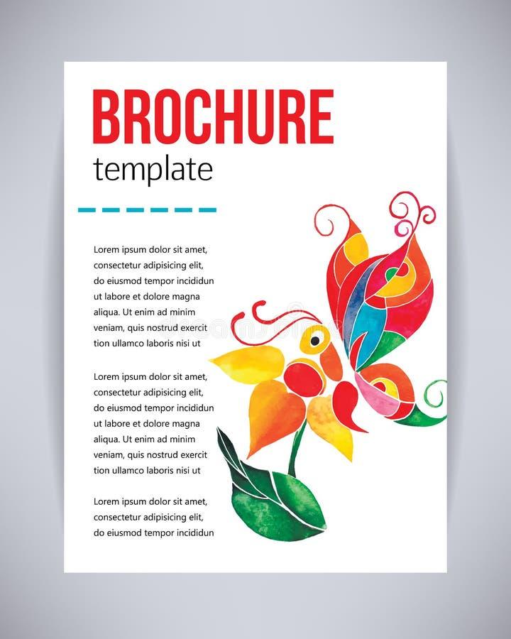 Διανυσματικά φυλλάδιο και ιπτάμενο, πρότυπο αφισών με την αφηρημένη όμορφη πεταλούδα watercolor σε ένα λουλούδι Πρόσκληση β ιπτάμ απεικόνιση αποθεμάτων