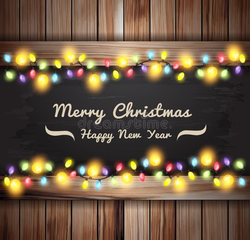 Διανυσματικά φω'τα Χριστουγέννων στους ξύλινους πίνακες και τον πίνακα κιμωλίας απεικόνιση αποθεμάτων