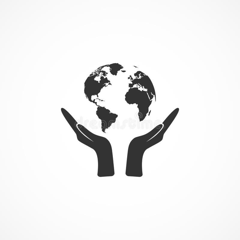 Διανυσματικά χέρια εικονιδίων εικόνας που κρατούν τη γη ελεύθερη απεικόνιση δικαιώματος