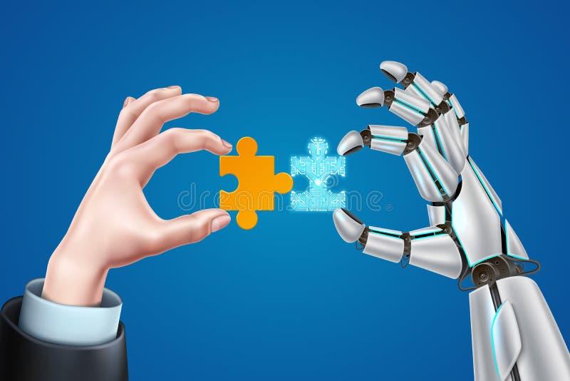 Διανυσματικά χέρια επιχειρησιακών ατόμων ρομπότ με το γρίφο ελεύθερη απεικόνιση δικαιώματος