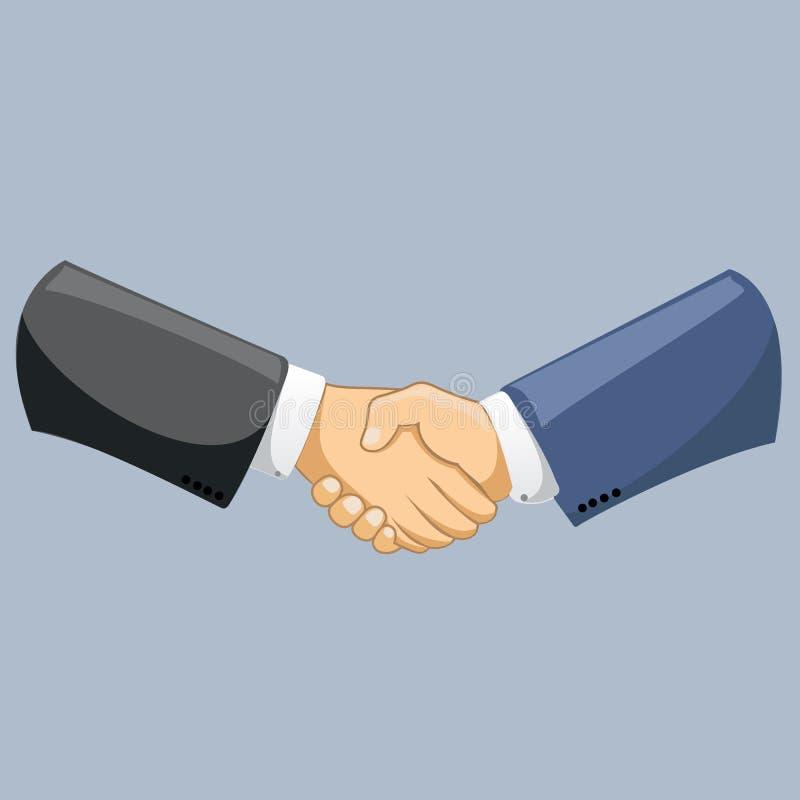 Διανυσματικά χέρια τινάγματος επιχειρησιακών ατόμων Ισχυρό και σταθερό χειροκρότημα χειραψιών Σύγχρονη επίπεδη διανυσματική απεικ διανυσματική απεικόνιση