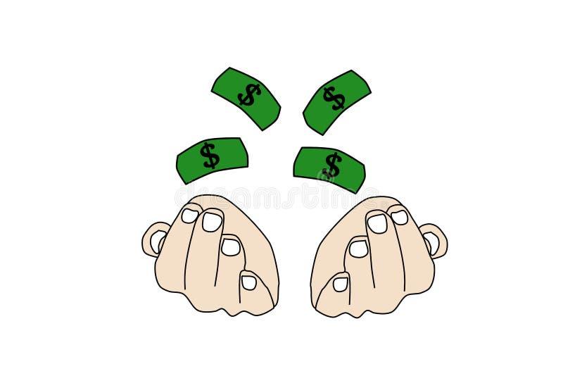 Διανυσματικά χέρια του προσώπου με τα πετώντας δολάρια Πλούτος απεικόνισης ελεύθερη απεικόνιση δικαιώματος