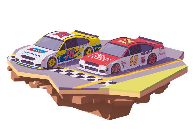 Διανυσματικά χαμηλά πολυ αγωνιστικά αυτοκίνητα ελεύθερη απεικόνιση δικαιώματος