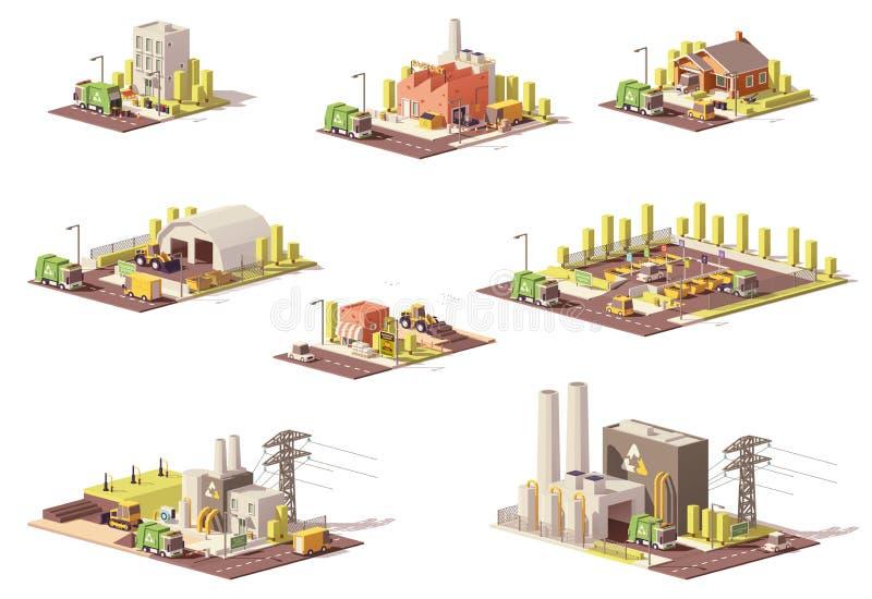 Διανυσματικά χαμηλά πολυ εικονίδια διαχείρησης αποβλήτων ελεύθερη απεικόνιση δικαιώματος