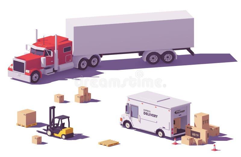 Διανυσματικά χαμηλά πολυ φορτηγά και forklift απεικόνιση αποθεμάτων