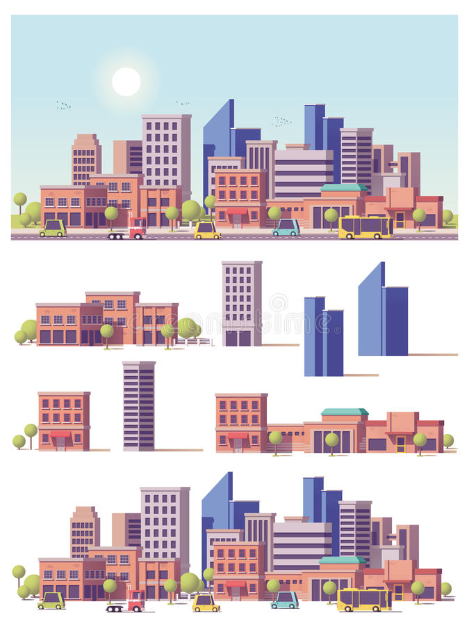 Διανυσματικά χαμηλά πολυ 2$α κτήρια και σκηνή πόλεων απεικόνιση αποθεμάτων