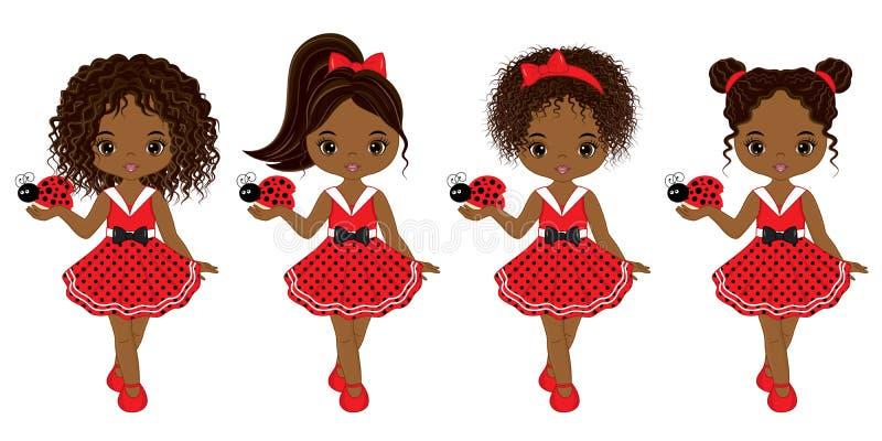 Διανυσματικά χαριτωμένα κορίτσια λίγων αφροαμερικάνων με Ladybugs διανυσματική απεικόνιση