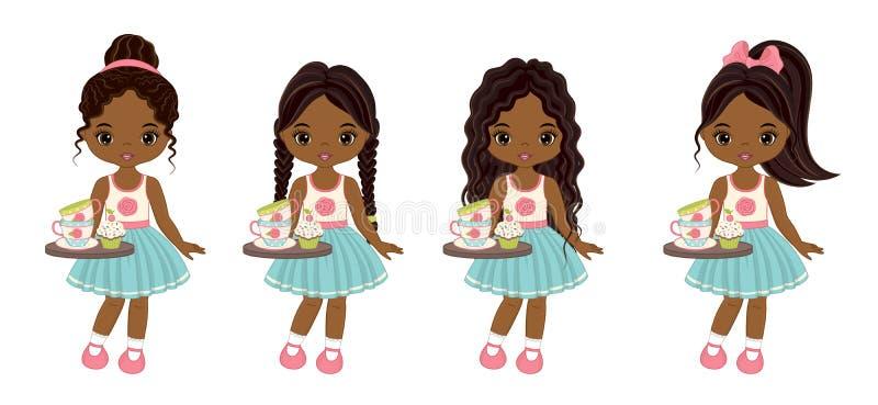 Διανυσματικά χαριτωμένα κορίτσια λίγων αφροαμερικάνων με τους δίσκους, τα φλυτζάνια τσαγιού και Cupcakes απεικόνιση αποθεμάτων