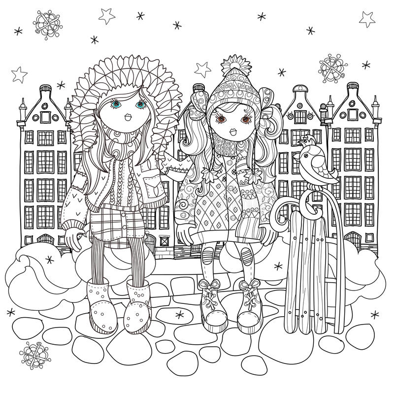 Διανυσματικά χαριτωμένα κορίτσια στο χειμερινό καπέλο απεικόνιση αποθεμάτων