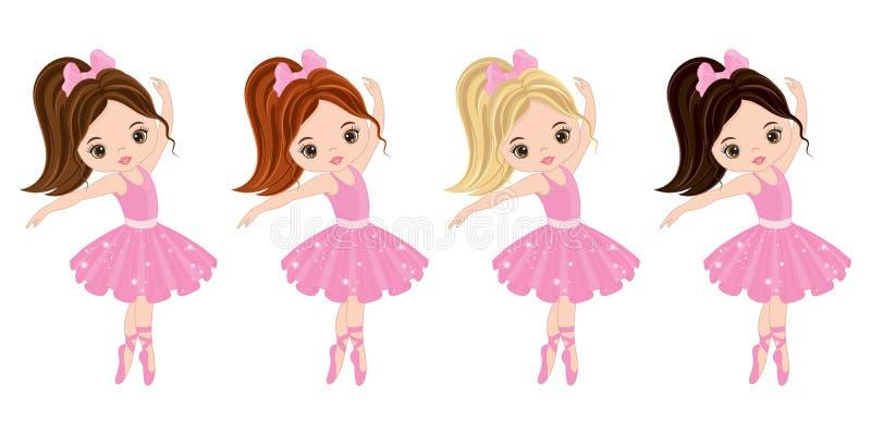 Διανυσματικά χαριτωμένα μικρά ballerinas με τα διάφορα χρώματα τρίχας ελεύθερη απεικόνιση δικαιώματος
