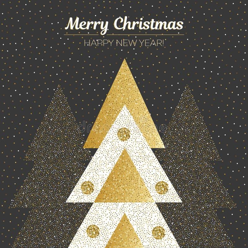 Διανυσματικά Χαρούμενα Χριστούγεννα και σχέδιο καλής χρονιάς Τετραγωνική κάρτα με τα χριστουγεννιάτικα δέντρα στα μαύρα, χρυσά κα διανυσματική απεικόνιση