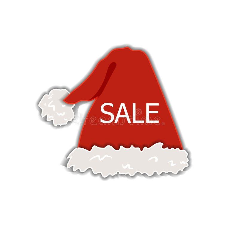 Διανυσματικά Χριστουγέννων πώλησης καπέλα διακοπών ετικετών, ετικεττών έκπτωσης, Santa και νεραιδών κόκκινα, ζωηρόχρωμο διακοσμητ απεικόνιση αποθεμάτων