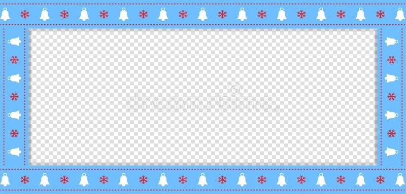 Διανυσματικά Χριστούγεννα ή νέο πρότυπο ορθογωνίων συνόρων έτους μπλε με το διάστημα αντιγράφων απεικόνιση αποθεμάτων