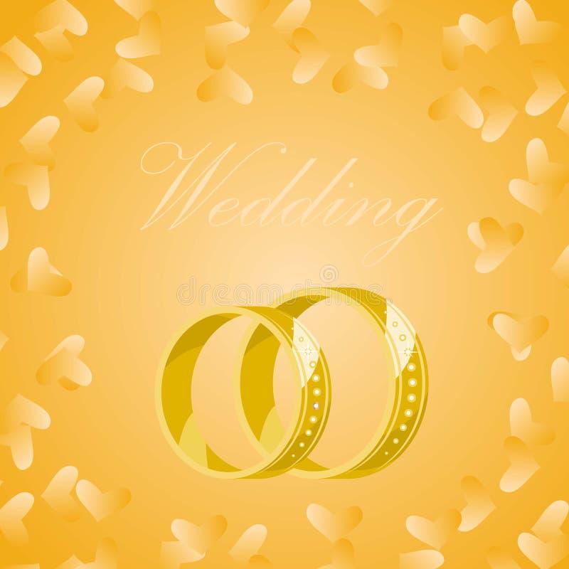 Διανυσματικά χρυσά γαμήλια δαχτυλίδια στο κίτρινο υπόβαθρο με τις χρυσές καρδιές Δαχτυλίδια για τη νύφη και το νεόνυμφο για το γά διανυσματική απεικόνιση