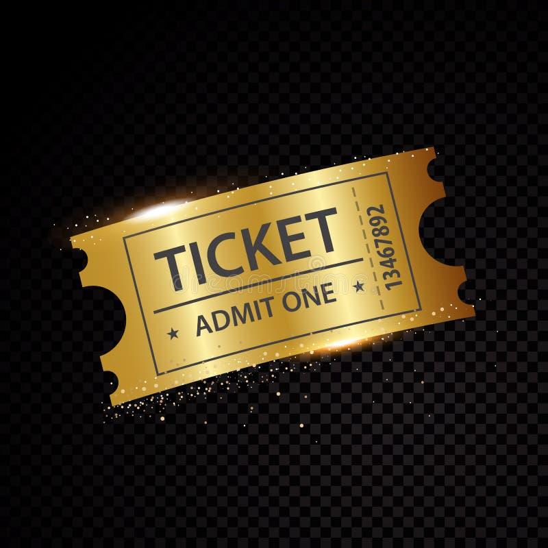 Διανυσματικά χρυσά εισιτήρια και πρότυπα δελτίων απεικόνιση αποθεμάτων