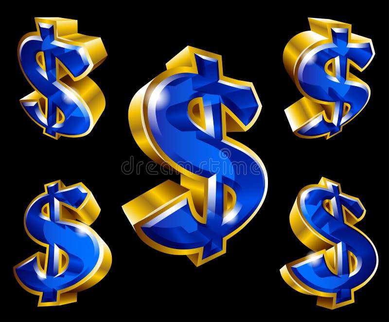 Διανυσματικά χρυσά σύμβολα δολαρίων στο τρισδιάστατο ύφος στοκ εικόνα με δικαίωμα ελεύθερης χρήσης
